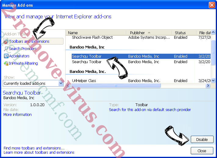 search.em-cmf.com IE toolbars and extensions