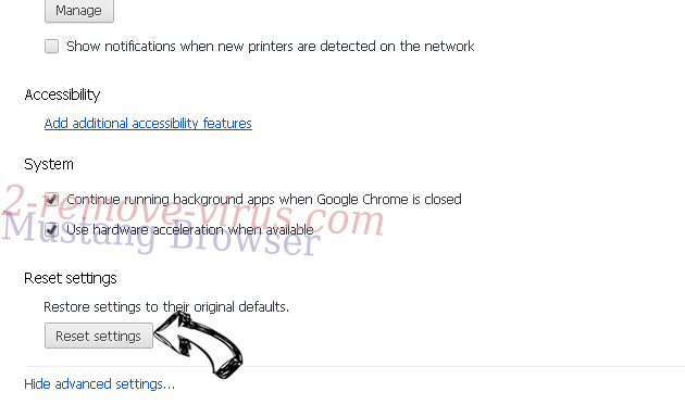 Mustang Browser Chrome advanced menu
