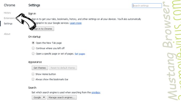 Mustang Browser Chrome settings