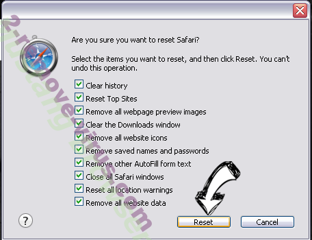 Удаление Safe-web.tk Safari reset