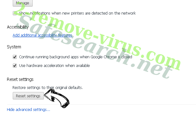 Search.snowballsam.com Chrome advanced menu