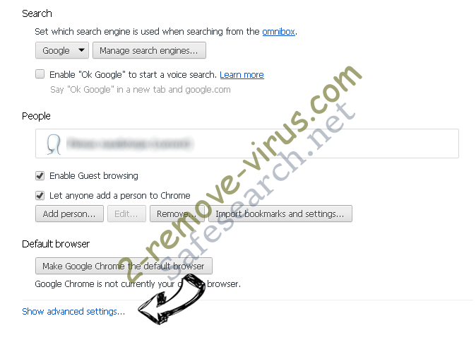 Search.snowballsam.com Chrome settings more