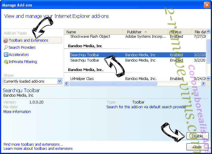 Search.searchmpct.com IE toolbars and extensions