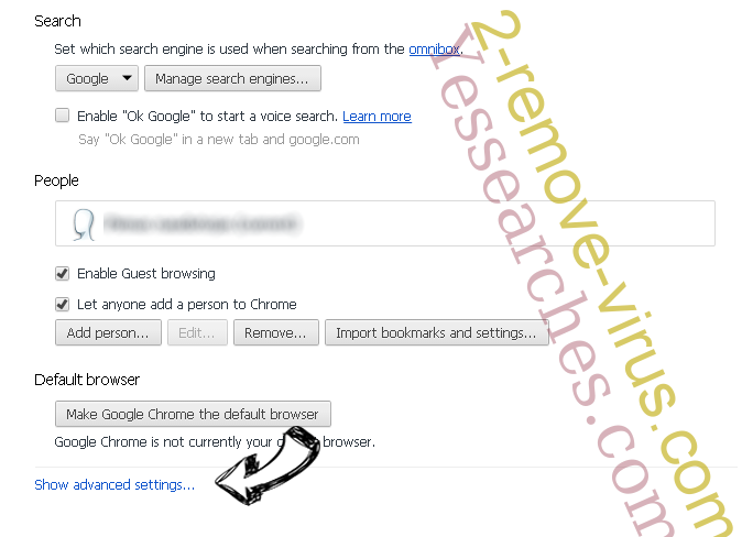 Yessearches.com Chrome settings more