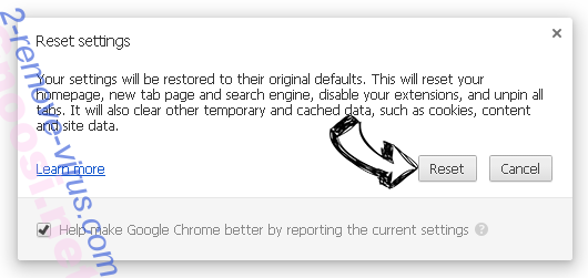 Удаление JobSpun Ads Chrome reset