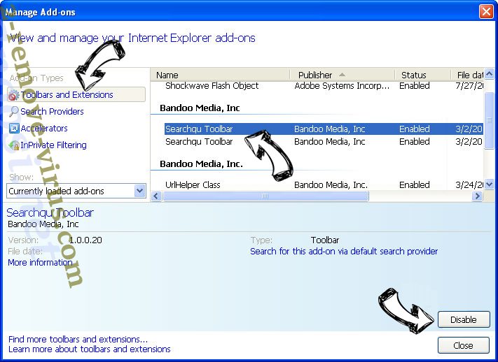 Search.portsayd.com IE toolbars and extensions