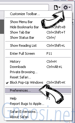 G-search.pro Safari menu