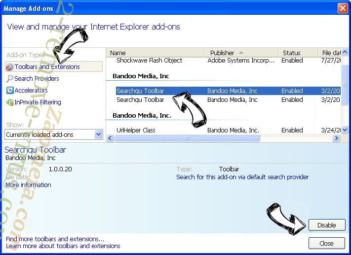 Search Manager IE toolbars and extensions