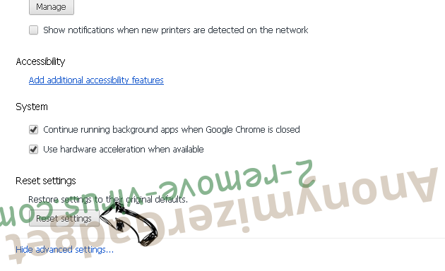 AnonymizerGadget Chrome advanced menu