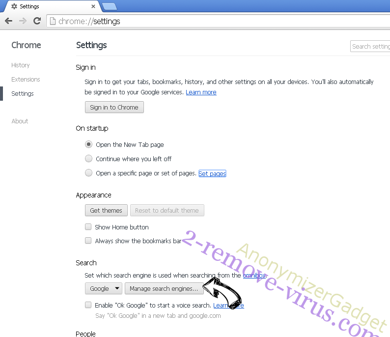 AnonymizerGadget Chrome extensions disable