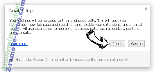 AnonymizerGadget Chrome reset