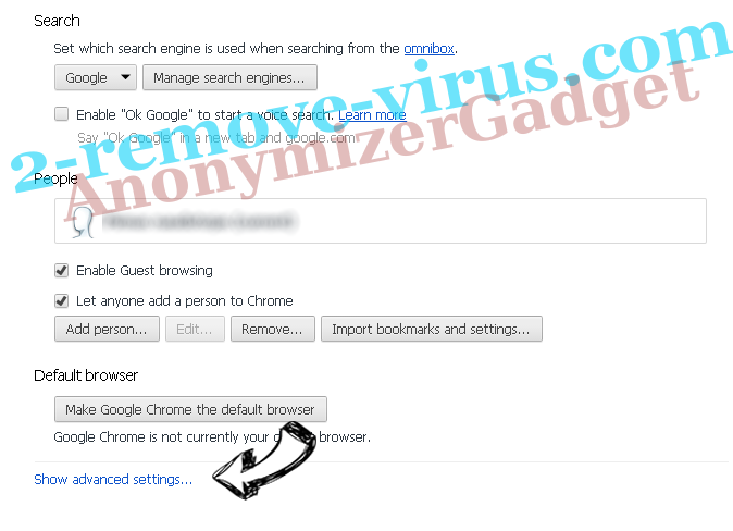 AnonymizerGadget Chrome settings more
