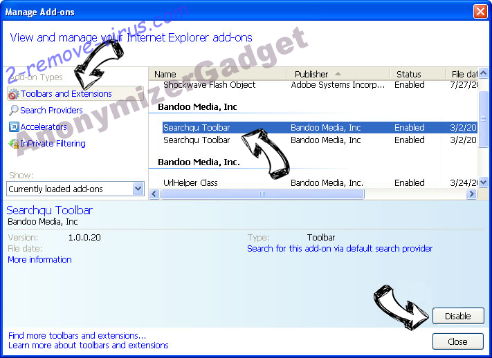 AnonymizerGadget IE toolbars and extensions