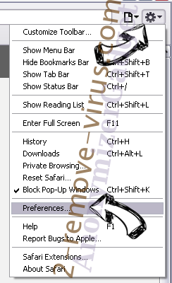 AnonymizerGadget Safari menu