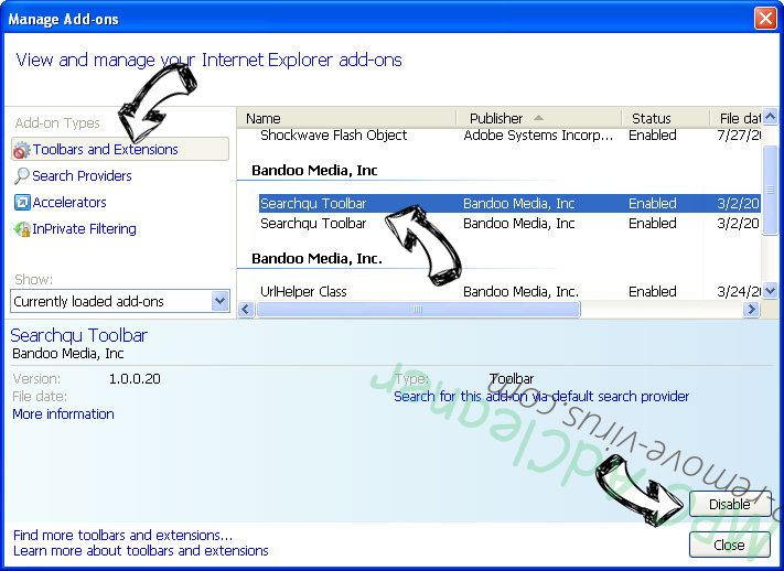 My.yoursearch.me IE toolbars and extensions