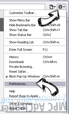 One10 PC Cleaner Safari menu