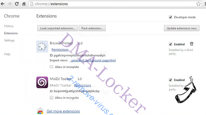 DMA-Locker Chrome extensions remove