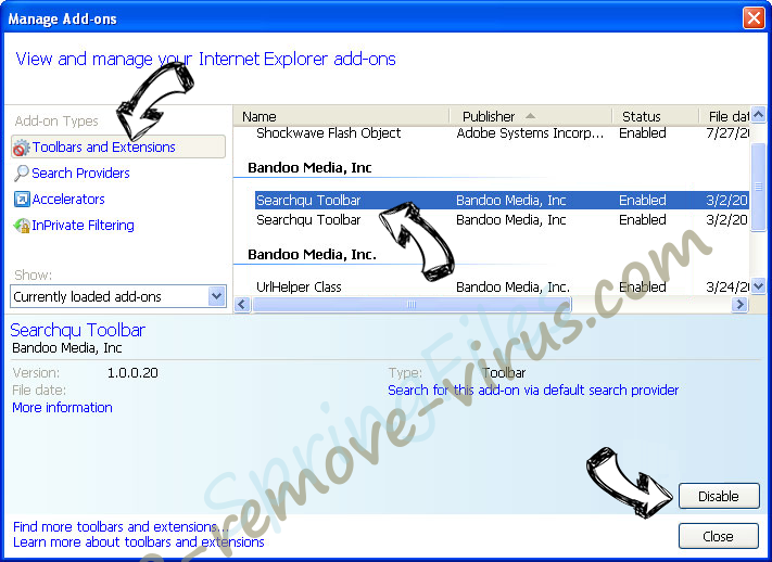 Search.searchlivesp.com IE toolbars and extensions