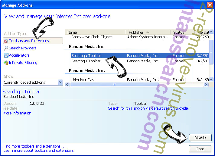 Search.searchwatchytsn.com IE toolbars and extensions