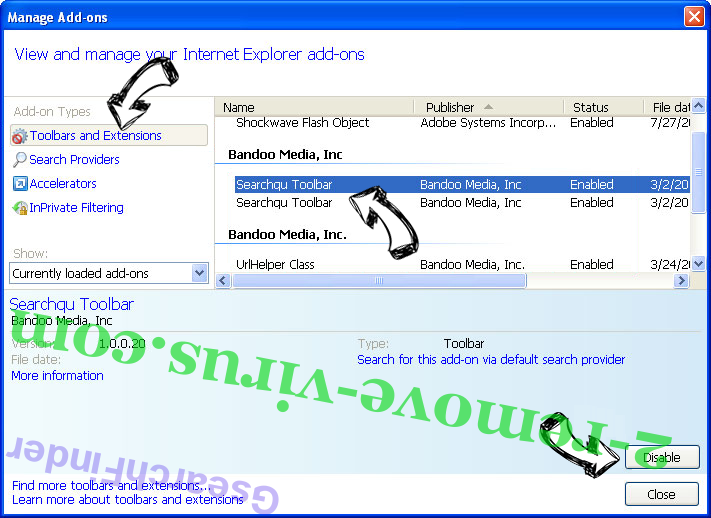 Supprimer Poonama IE toolbars and extensions