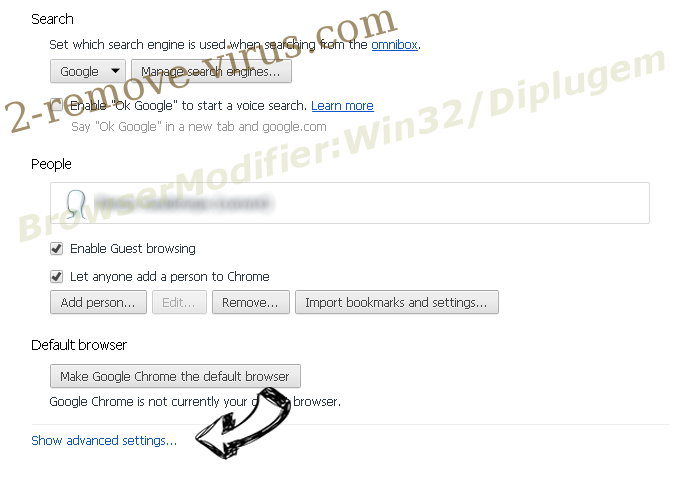 BrowserModifier:Win32/Diplugem Chrome settings more