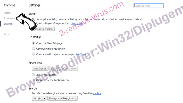 BrowserModifier:Win32/Diplugem Chrome settings