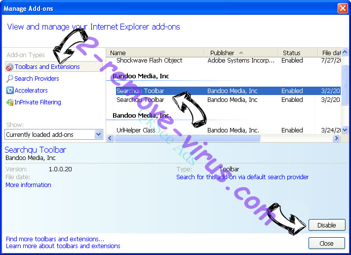 Safe Finder Virus IE toolbars and extensions