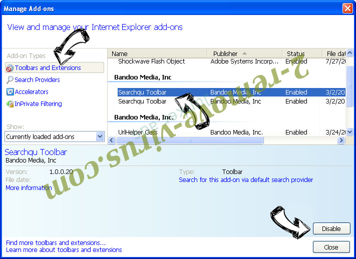 Search.searchcoun.com IE toolbars and extensions