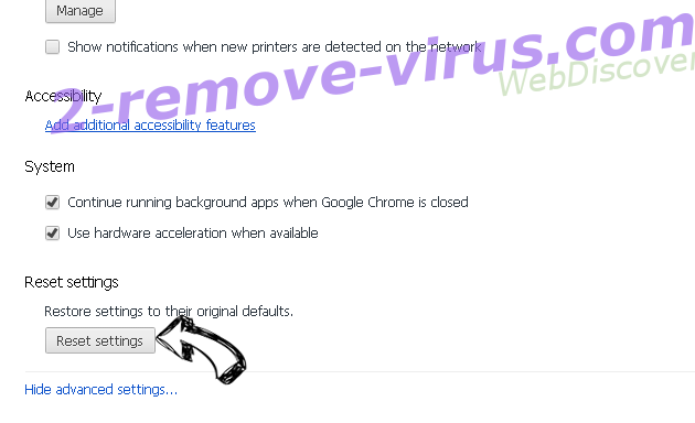WebDiscover Chrome advanced menu