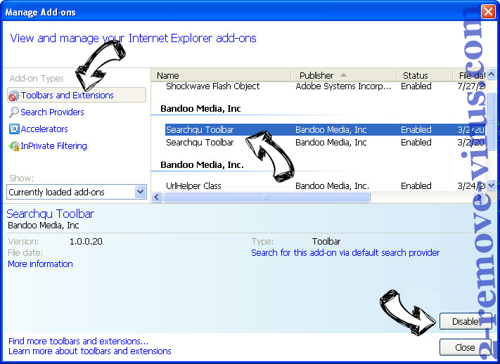 Get-search.info IE toolbars and extensions