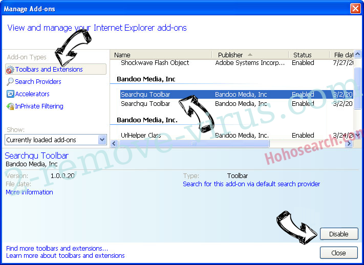 Hohosearch.com IE toolbars and extensions
