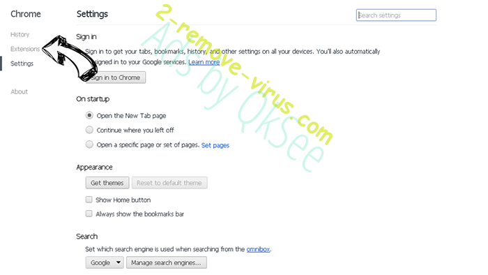 Ads by QkSee Chrome settings