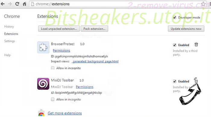 Bitsheakers.utop.it Chrome extensions remove