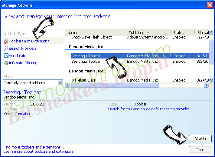 Search.aquatoria.net IE toolbars and extensions