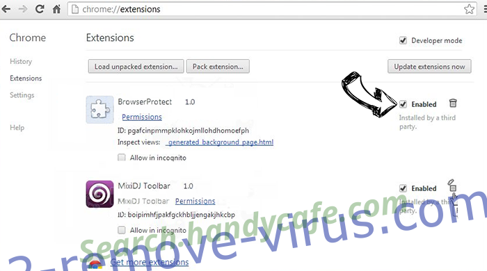 .Locked Virus Chrome extensions disable