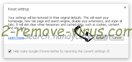 Search.handycafe.com Chrome reset