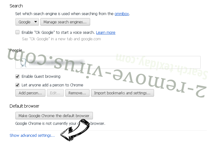 Supprimer Search.texiday.com Chrome settings more