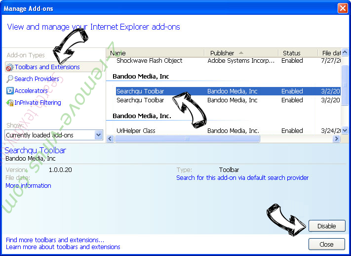 Supprimer Search.texiday.com IE toolbars and extensions