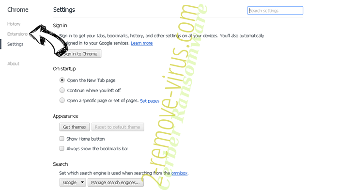 Chromesearch1.info Chrome settings