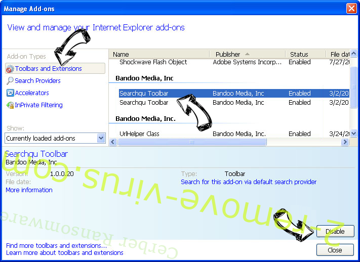 Search.vmn.net IE toolbars and extensions