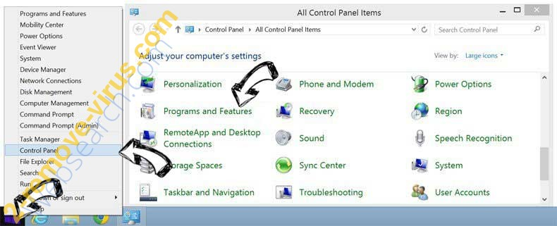Delete Conceau.co from Windows 8