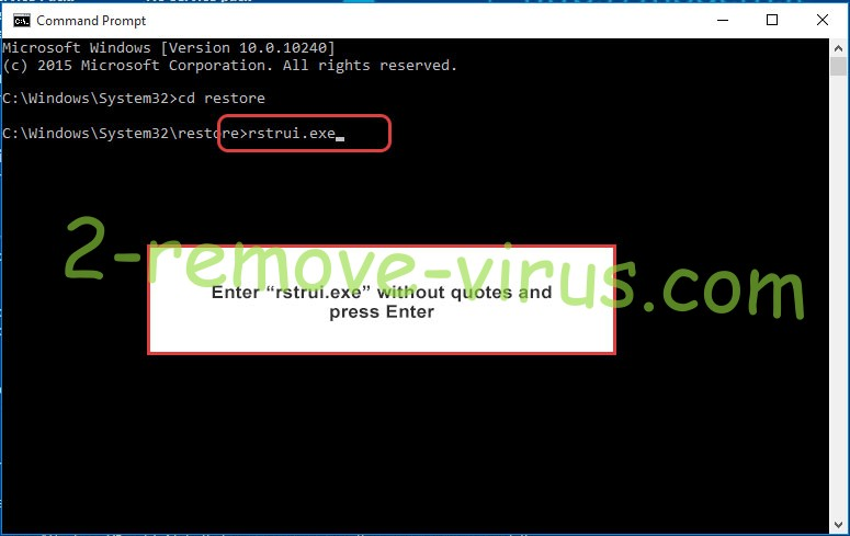 Delete Jokers House Ransomware - command prompt restore execute