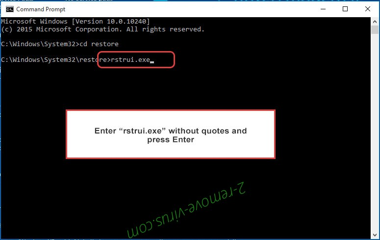 Delete Supprimer 4rw5w ransomware virus - command prompt restore execute