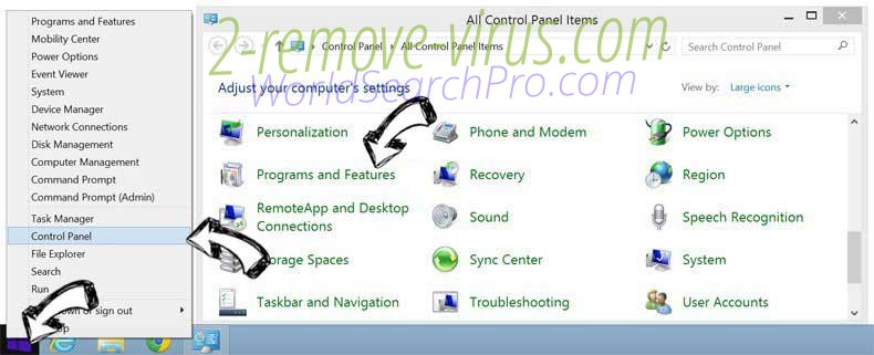 Delete Rimuovere WorldSearchPro.com from Windows 8