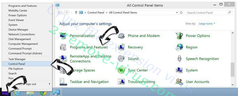 Delete Crypz file extension virus from Windows 8