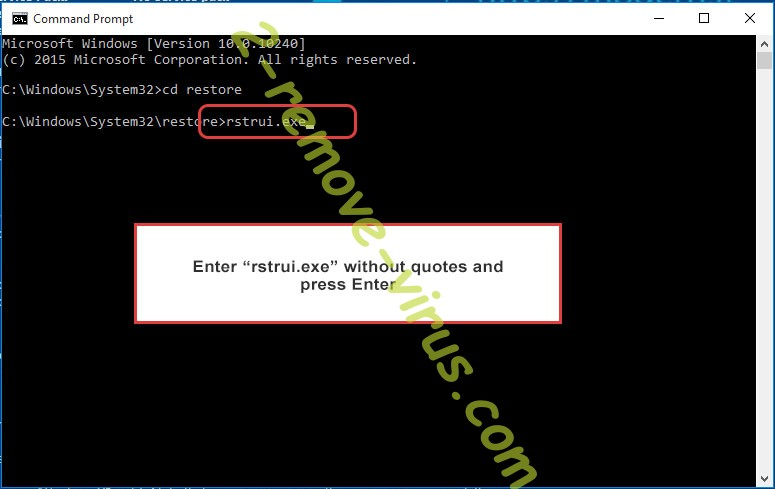 Delete NSMF Ransomware - command prompt restore execute