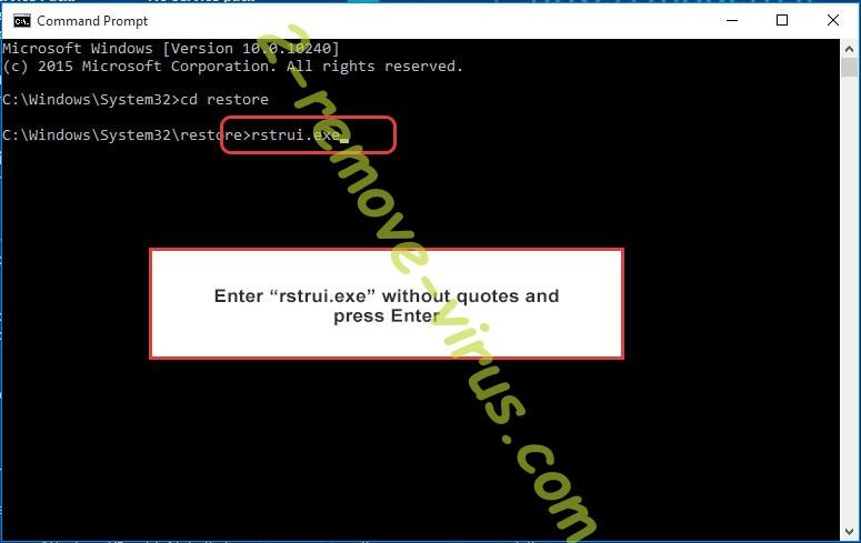 Delete Non ransomware virus - command prompt restore execute