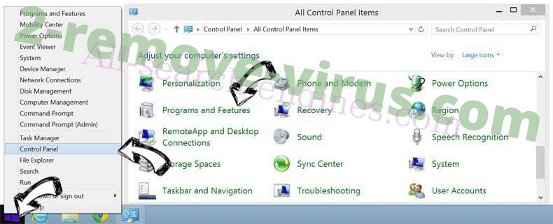 Delete Cookies Control extension from Windows 8