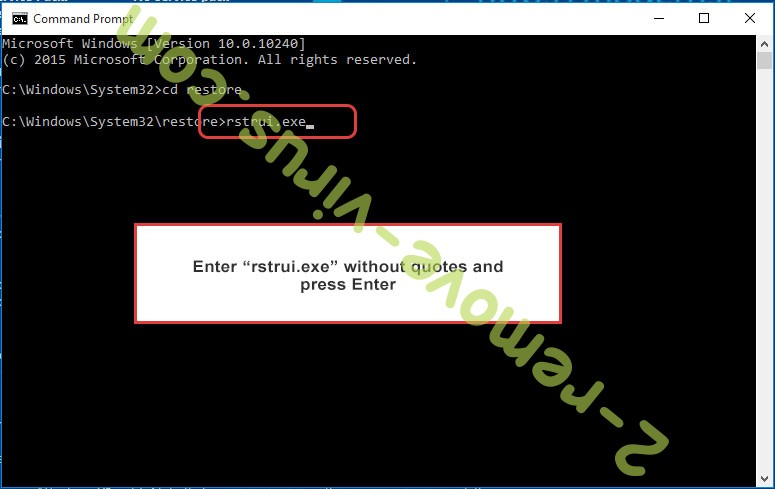 Delete CryptoLockerEU - command prompt restore execute