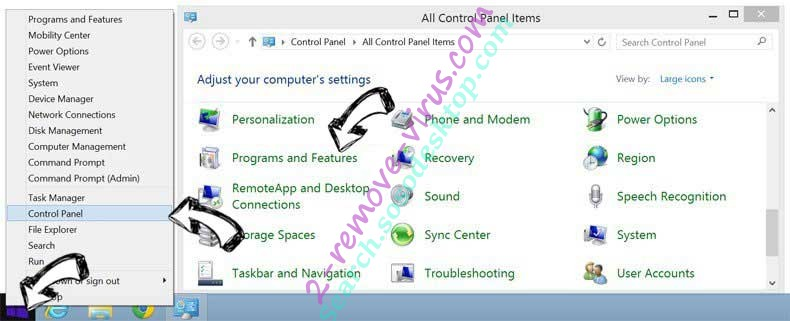 Delete 100searchengines.com entfernen from Windows 8